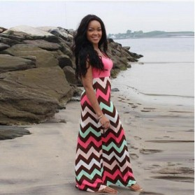 Dress Wanita Motif Wave Sleeveless Dress Size L - Pink - 4