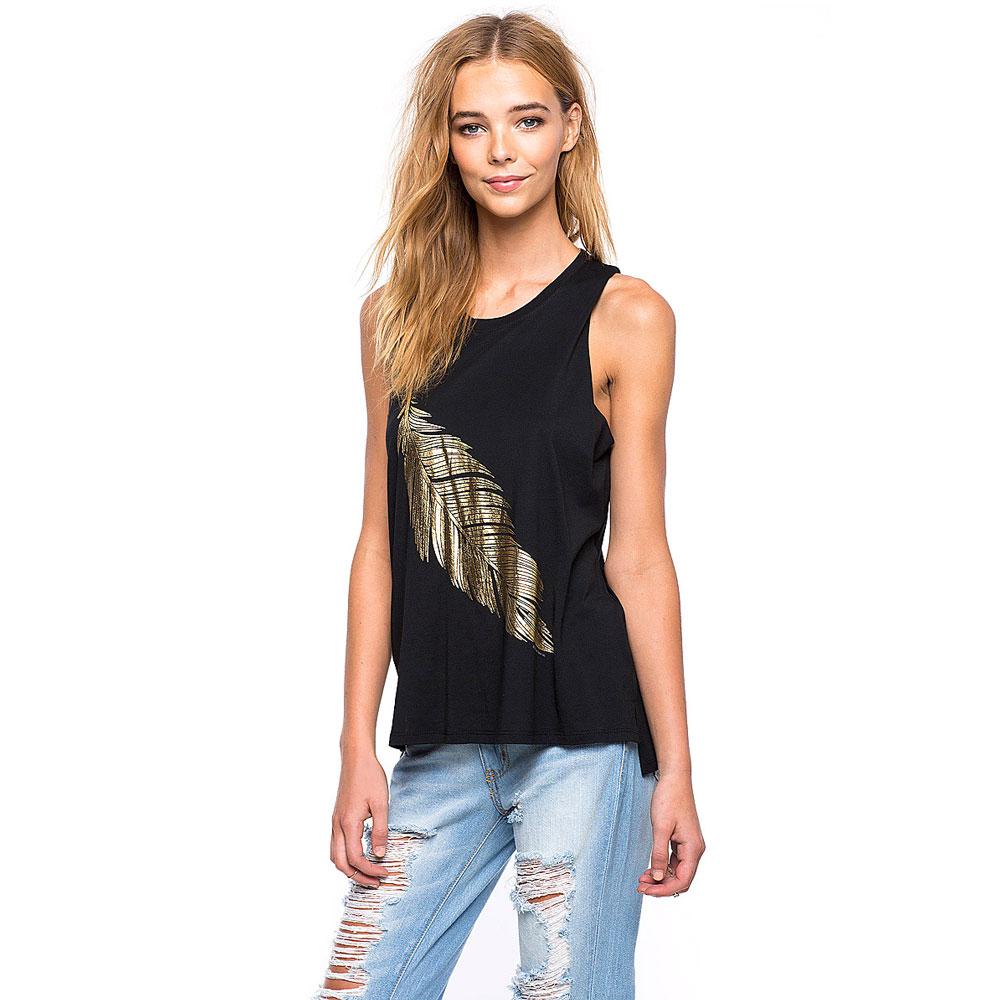 Kaos Tank Top U Can See Wanita Motif Feather Size S Black Baju Singlet Tanktop Fashion Pria 1