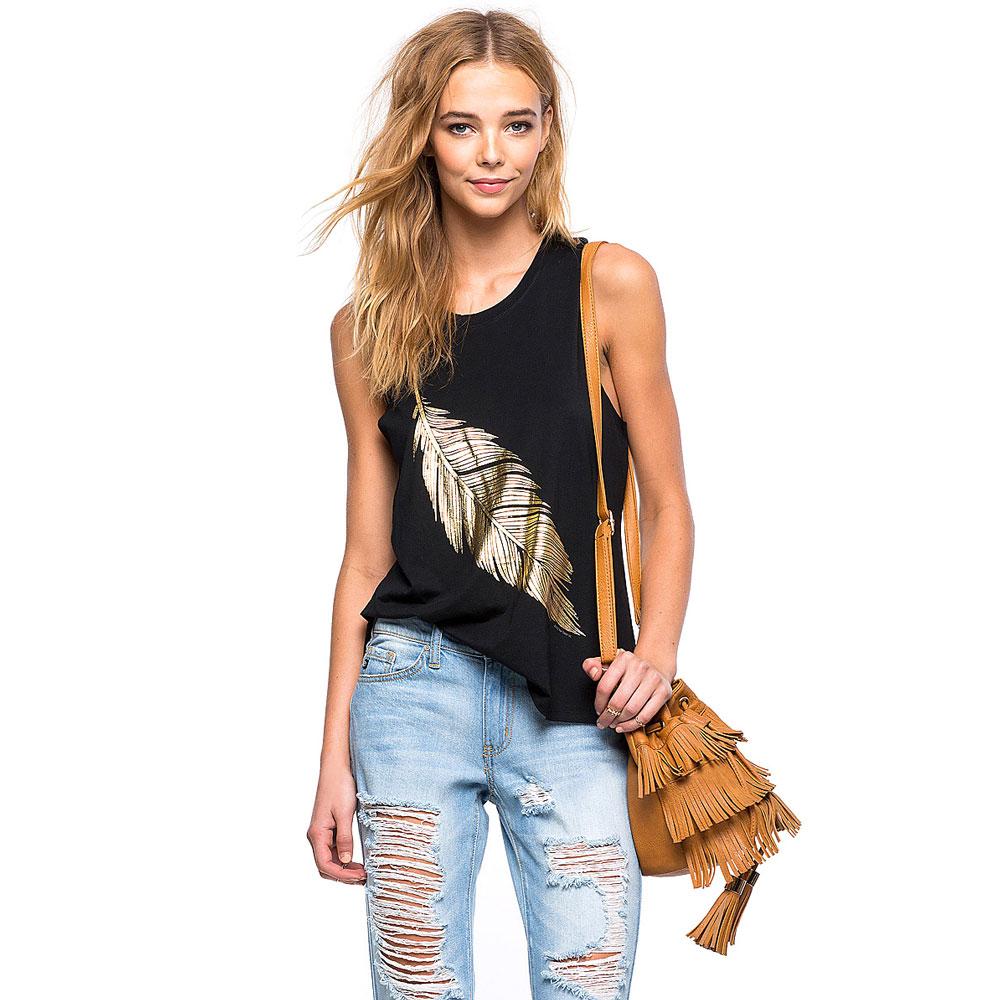 Kaos Tank Top U Can See Wanita Motif Feather Size S Black Baju Singlet Tanktop Fashion Pria 2
