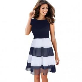 Dress Wanita Short Sleeve Chiffon Vintage Dress Size L - Navy Blue