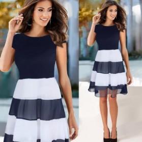 Dress Wanita Short Sleeve Chiffon Vintage Dress Size L - Navy Blue - 2