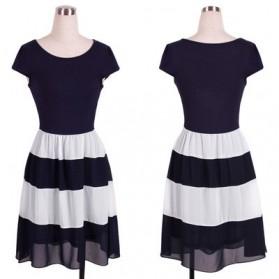 Dress Wanita Short Sleeve Chiffon Vintage Dress Size L - Navy Blue - 3