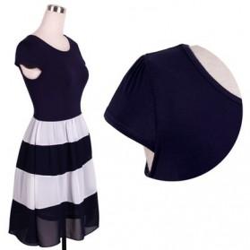 Dress Wanita Short Sleeve Chiffon Vintage Dress Size L - Navy Blue - 4