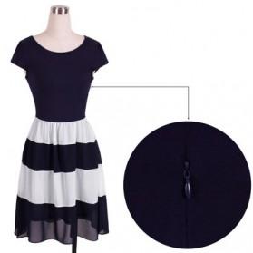 Dress Wanita Short Sleeve Chiffon Vintage Dress Size L - Navy Blue - 5