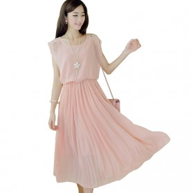 Dress Wanita Korean Style Sleeveless Chiffon Dress Size M - Pink