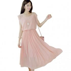 Dress Wanita Korean Style Sleeveless Chiffon Dress Size L - Pink