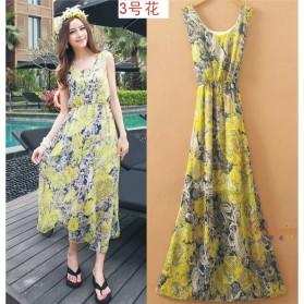 Dress Wanita Motif Bunga Bohemian All Size - Motif 3 - Green