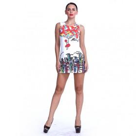Dress Casual Wanita Europe Style O Neck Size L - White