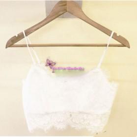 Halter Top Zipper Bralette Eyelash Lace Blouse Wanita Size M - White