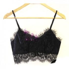 Halter Top Zipper Bralette Eyelash Lace Blouse Wanita Size L - Black