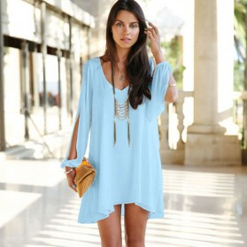 Dress Wanita Casual V-Neck Chiffon Long Sleeve Size M - Blue