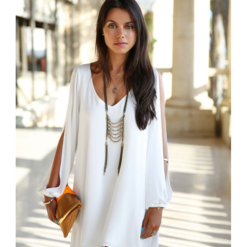 Dress Wanita Casual V-Neck Chiffon Long Sleeve Size L - Blue - JakartaNotebook.com