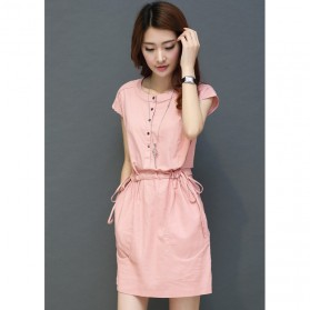 Dress Casual Wanita Cotton Linen Short Sleeve Size M - Pink