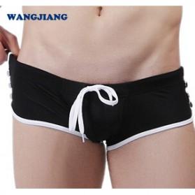 Celana Renang Boxer Pria Side Button Swimming Trunk Pants Size M - Black