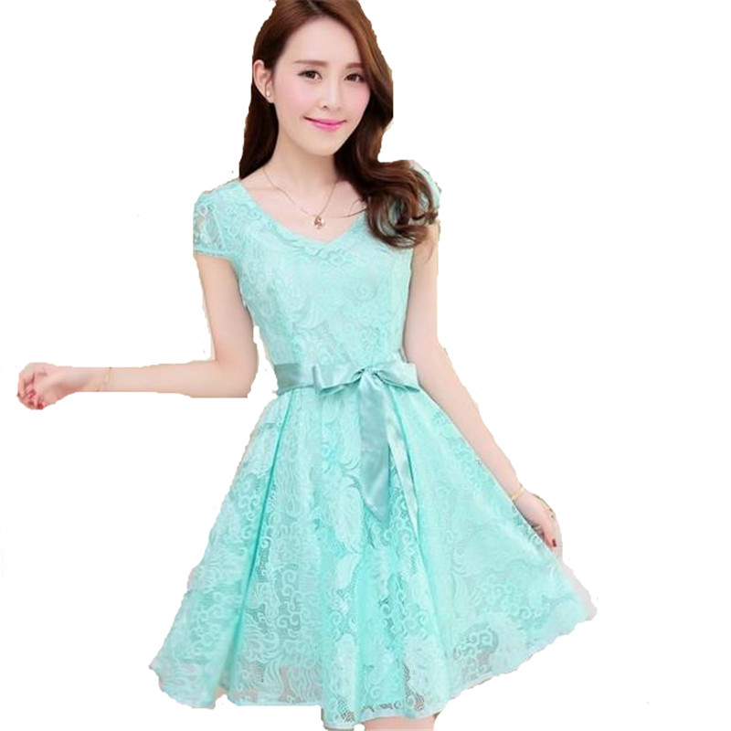 Dress Casual Wanita Korea Summer Style V Neck Short Sleeve Size M