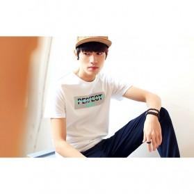 Kaos Katun Pria T-Shirt Perfect O Neck Size M - White - 2