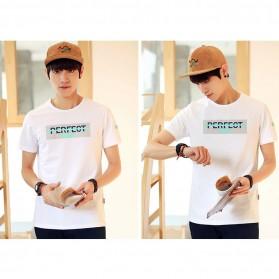 Kaos Katun Pria T-Shirt Perfect O Neck Size M - White - 3