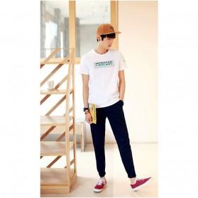 Kaos Katun Pria T-Shirt Perfect O Neck Size M - White - 4