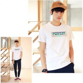 Kaos Katun Pria T-Shirt Perfect O Neck Size M - White - 5