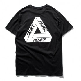 Kaos Katun Pria Triangle Palace O Neck Size S / T-Shirt - Black