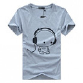 Kaos Katun Pria T-Shirt Headphone O Neck Size L - Gray - 1