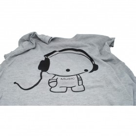 Kaos Katun Pria T-Shirt Headphone O Neck Size L - Gray - 3