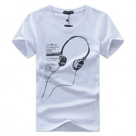 Kaos Katun Pria T-Shirt Headphone O Neck Size L - White
