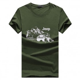 Kaos Katun Pria JEEP O Neck Size M - Army Green