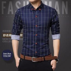 Kemeja Lengan Panjang Pria Slim Fit Motif Kotak Kotak Size XL - Dark Blue