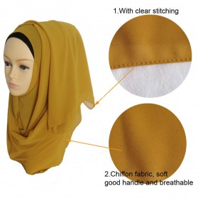 Kerudung Hijab Muslim Chiffon Shawls - Black - 3