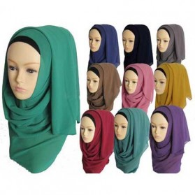 Kerudung Hijab Muslim Chiffon Shawls - Black - 4