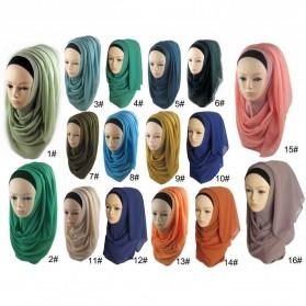 Kerudung Hijab Muslim Chiffon Shawls - Black - 5
