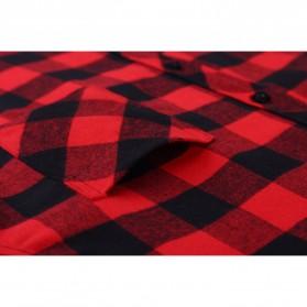 Kemeja Flanel Lengan Panjang Pria Motif Kotak Kotak Size L - Red - 4