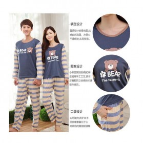 Piyama Bear Couple Pria Size L - Blue - 3