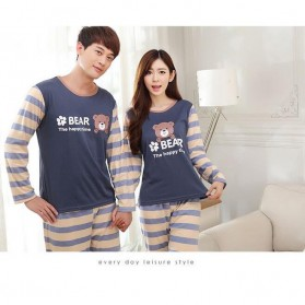 Piyama Bear Couple Wanita Size M - Blue