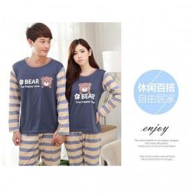 Piyama Bear Couple Wanita Size M - Blue - 2