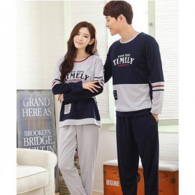Piyama Timely Couple Pria Size L - Blue/Gray