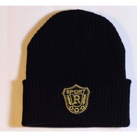 SPORT R Topi Kupluk Wol Beanie Hat - Black - 3
