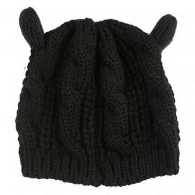 Topi Kupluk Wol Wanita Model Telinga Kucing Beanie Hat - Black - 2