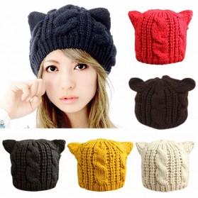 Topi Kupluk Wol Wanita Model Telinga Kucing Beanie Hat - Black - 3