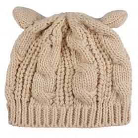 Topi Kupluk Wol Wanita Model Telinga Kucing Beanie Hat - Black - 4