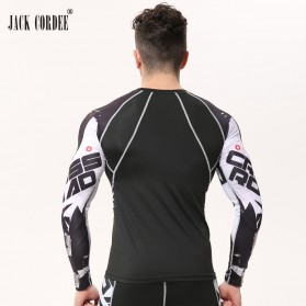 Kaos Olahraga Ketat Pria Crossfit MMA Compression Shirt Long Sleeve Size M - Black - 2