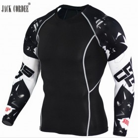 Kaos Olahraga Ketat Pria Crossfit MMA Compression Shirt Long Sleeve Size M - Black - 3
