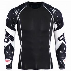 Kaos Olahraga Ketat Pria Crossfit MMA Compression Shirt Long Sleeve Size M - Black - 4