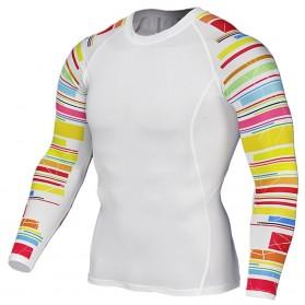Kaos Olahraga Ketat Pria Crossfit MMA Compression Shirt Long Sleeve Size M - Black - 5
