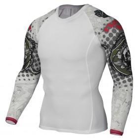 Kaos Olahraga Ketat Pria Crossfit MMA Compression Shirt Long Sleeve Size M - Black - 6