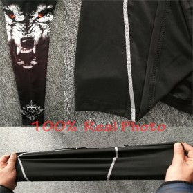 Kaos Olahraga Ketat Pria Crossfit MMA Compression Shirt Long Sleeve Size M - Black - 7