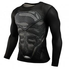 Baju Olahraga Ketat Pria Crossfit MMA Compression Shirt Long Sleeve Size XL - Black/Black