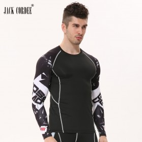 Kaos Olahraga Ketat Pria Crossfit MMA Compression Shirt Long Sleeve Size L - Black