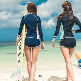 Baju Renang Wanita Long Sleeve Rash Guard Swimsuit Set Size M - Green - 4